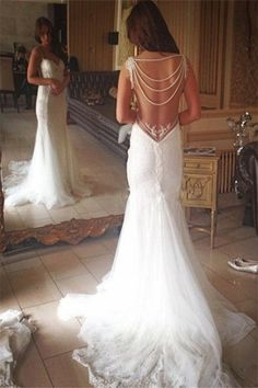 mermaid wedding dresses, backless wedding dresses, lace wedding dresses, beading wedding dresses @dresstell