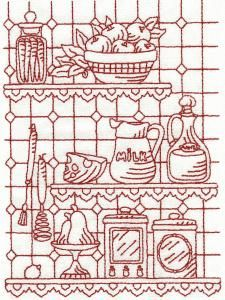 OregonPatchWorks.com - Sets - Old Kitchen Redwork - Limited Edition