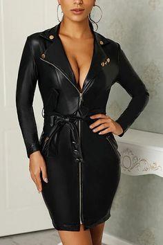 2019 Fashion PU Leather Dress Women V Neck Mini Long Sleeve Sexy Dress Christmas Sash Zipper Winter Black Short Dress Vestido Leather Dresses, Mode Outfits, Models, Bodycon Dress, Clothes For Women, Lingerie, Pu Leather, Leather Fabric, Long Sleeve