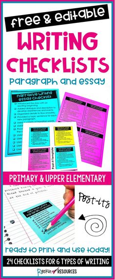 Are your students leaving out key components in their writing? These step-by-step checklists will guide them through writer's workshop! Click NOW to get 24 FREE Writing Checklists for paragraph writing and essay writing! 5th Grade Writing, Middle School Writing, Writing Classes, Writing Lessons, Writing Workshop, Writing Centers, Readers Workshop, Writing Process, Paragraph Writing