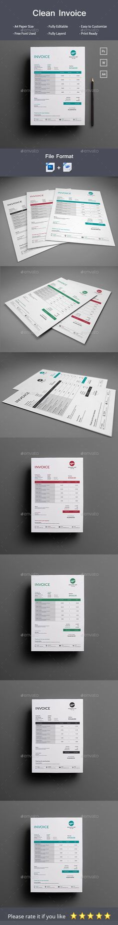 Buy Invoice by RealisticArt on GraphicRiver. This Minimal Invoice will help you in your business to save time, organize you product data and customers info and ea. Invoice Design, Invoice Template, Resume Templates, Graphic Design Print, Graphic Design Inspiration, Layout, Proposal Templates, Print Templates, Stationery
