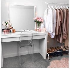 A place to put on makeup and a rack to organise the week's outfits!