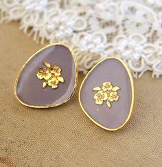 Lilac+Purple+royal+stud+velvet+earring++Victorian+by+iloniti,+$24.00