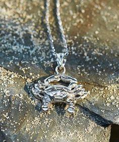Look at this #zulilyfind! Sterling Silver Crab Pendant Necklace #zulilyfinds