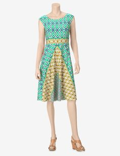 London Times Turquoise & Green Fit & Flare Printed Dress – Petites - Petites   Stage Stores