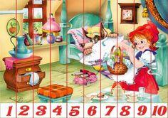 Puzzles recortables con motivos de cuentos. Estos puzzles son muy fáciles de hacer porque están acompañados de números. Mírame y aprenderás en Facebook