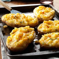 Cheesy Stuffed Baked Potatoes Recipe from Taste of Home -- shared by Marge Clark of West Lebanon, Indiana recipes potatoes Potato Dishes, Vegetable Side Dishes, Vegetable Recipes, Potato Rice, Stuffed Baked Potatoes, Twice Baked Potatoes, Cheesy Potatoes, Double Stuffed Potatoes, Double Baked Potatoes