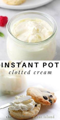 Instant Pot Clotted Cream Recipe ~ how to make authentic homemade clotted cream in the Instant Pot ~ spread on scones, it's a British tea time tradition! Clotted Cream Recipes, Recipe For Cream Scones, Tea Scones Recipe, Scones And Clotted Cream, Scones And Jam, Afternoon Tea Recipes, Afternoon Tea Party Food, Gastronomia, Afternoon Tea