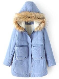 Blue Hooded Long Sleeve Pockets Coat 47.21