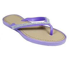 Peach Couture Gem Studded Strap Thong Flat Summer Flip Flop Sandals Purple 9 * Details can be found by clicking on the image.