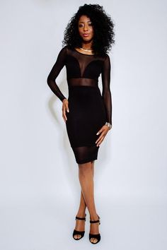 SIMONE Black Long-Sleeve Illusion Dress