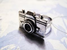 Camera Charm Ring, Adjustable Photography Silver Retro
