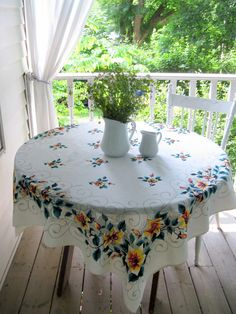 Tablecloth Flowers Yellow Flowers Fifties by mailordervintage