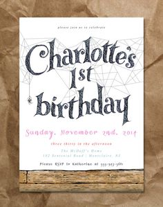 Salutations! Inspired by the famous book by E.B. White, this invitation is perfect for your Charlottes Web themed party! All colors can be