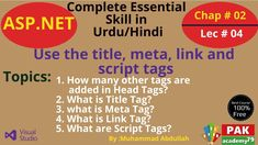 Net : Use the title, meta, link and script tags [Ch # 02 Head Tag, Programming Languages, Web Application, Try It Free, Search Engine, Tags, Link, Mailing Labels