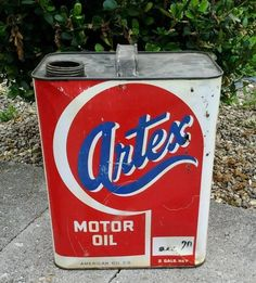 Vintage Artex 2 Two Gallon Motor Oil Can Gas Advertising Signs | eBay