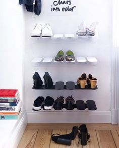 Shoe shelf Step comes in black and white and is suitable for all kinds of shoes, from rubber boots to high heels. Perfect shoe shelf for those who want an easily cleaned hallway and discreet, yet stylish shoe rack. Swedish design made by: Gustav Rosén.