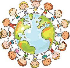 Crianças de todo o mundo - ilustração de arte vetorial