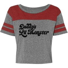 Daddy's Lil Monster Crop | Hey there little Harley Quinn. Get this sporty and cute crop top shirt to wear for Halloween to show your Suicide Squad fandom. Daddy's lil monster. #harleyquinn #halloween #costume #harleyquinncostume