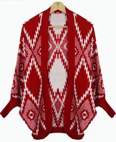 Red Batwing Long Sleeve Geometric Pattern Cardigan US$39.93