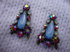 Stunning Periwinkle Blue Rhinestone Clip On by melmacparadise