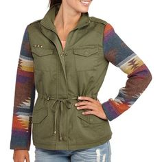 Women's Cargo Jacket With Aztec Print Sleeves  - Got it - so cute on!!!
