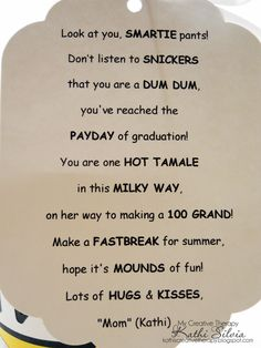 Poem Using Candy Bar Names   Candy Bar Poems For Graduation