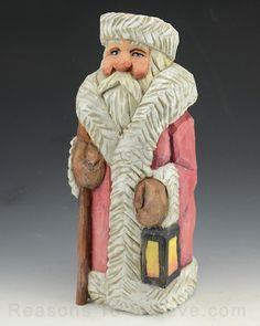 Heavy Coat Santa with Stick
