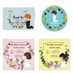 More NEW #holycommunion #flowerswreath theme. You can CHANGE the background by yourself. Available for boys & girls with different haircolors as #invitation #card #stickers - Check detail at www.zazzle.com/celebrationideas or www.zazzle.com/graphicdesign  #zazzle #flowers #wreath #christening #communion #religious