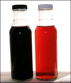 Homemade vinegar, left, has a much deeper color and flavor than commercial vinegar, right.