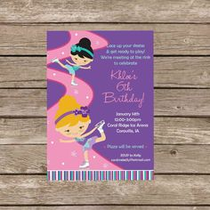 ice skating birthday invitation