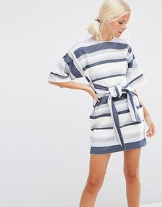 ASOS   Цельнокройное платье в полоску из натуральных волокон с завязкой спереди ASOS