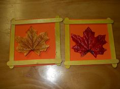 Framed leaf craft - use twigs instead of lolly sticks coat leaves with pva before framing Daycare Crafts, Classroom Crafts, Toddler Crafts, Preschool Crafts, Autumn Crafts, Fall Crafts For Kids, Autumn Art, Holiday Crafts, Autumn Activities