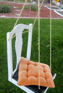 Chair upcycled into an outdoor swing...brilliant!