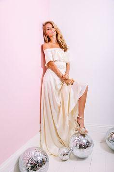 LILY DRESS  ~ EDITORIAL ~ 2017 Belle & Bunty Bridal Collection  70's cream silk satin off-shoulder wedding dress with beaded belt. Studio 54 Inspiration Shoot & Dress by London Designers Belle & Bunty,