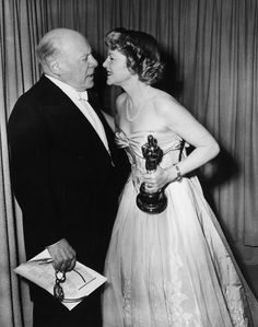 """Claire Trevor ~ (1910 – 2000) won the Best Supporting Actress Oscar® for her role in """"Key Largo"""" Presented by Edmund Gwenn ~ (1877 – 1959) at the 21st Academy Awards® (1949)"""
