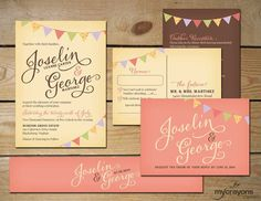Country Garland Rustic Wedding Invitation Set // DIY Printable // Blush Pink, Brown, Yellow // Script, Flags, Bunting