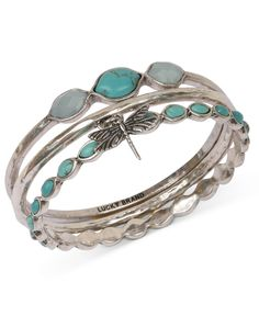 Lucky Brand Bracelet Set, Silver-Tone Turquoise Dragonfly Bangle Bracelets - Fashion Bracelets - Jewelry & Watches - Macys