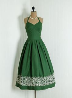 "Beautiful 1940's green sundress 1940's ""Carolyn Schnrer"" Custom-Made American Designer-Label Exquisite Olive-Green Embroidered Floral-Garden Textured Cotton Seductive Shelf-Bust Halter Nipped-Waist Bombshell Swing-Skirt"