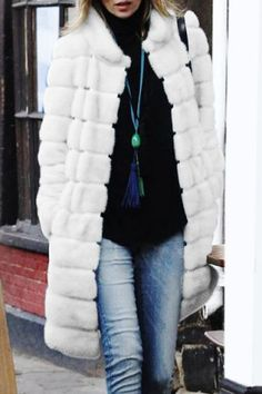 Chic Stand-Up Neck Long Sleeves Solid Color Faux Fur Women's Coat