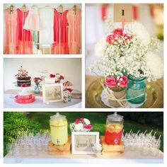 DIY wedding. Coral backyard wedding.