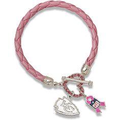 LogoArt Kansas City Chiefs Breast Cancer Awareness Pink Rope Bracelet