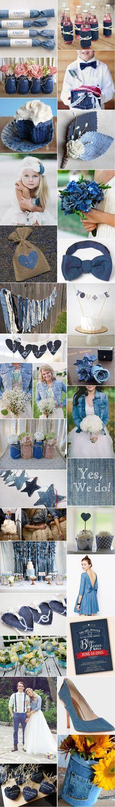 Dites oui à Lily [Inspiration] Mariage jean denim Wedding Dresses Photos, Blue Wedding Dresses, Wedding Colors, Wedding Ideas, Wedding Themes, Artisanats Denim, Denim And Lace, Blue Jean Wedding, Denim Baby Shower