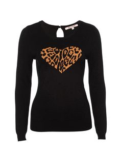 The classic black winter jumper gets a stylish twist! The Leopard Lover Jumper will be a wardrobe favourite for the cooler months, thanks to the delectable leopard-print love heart adorning its front. Winter Jumpers, My Wardrobe, Knitwear, Collections, Clothes For Women, Stylish, Sweatshirts, Heart, Classic