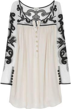 ShopStyle: Temperley London Tattoo lace silk-blend tunic