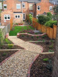 Innovative best 25 sloped garden ideas on sloping garden medium Narrow Patio Ideas, Narrow Garden, Sloped Backyard, Sloped Garden, Garden Fences, Garden Path, Terrace Garden, Dream Garden, Cottage Garden Design