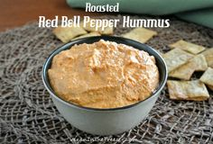 Everybody loves Roasted Red Bell Pepper Hummus. Yes, the guys too. Chickpeas and red bells make a flavorful, simple dip that goes with chips...