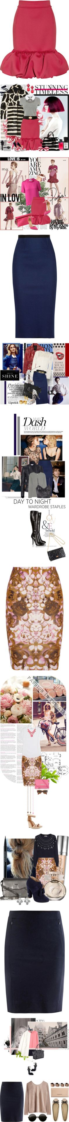 """""""It's a Stretch: Jersey Skirts"""" by polyvore-editorial ❤ liked on Polyvore"""