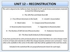 U.S. History - Reconstruction Era Unit - The rise of Jim Crow