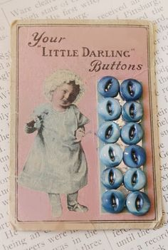 VIntage baby pink button card with blue MOP buttons
